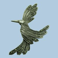 VINTAGE Sterling and Marcasites Bird Brooch  Lovely