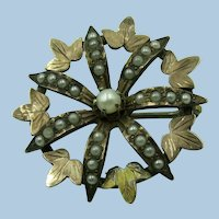 VICTORIAN  Gold-filled  Ivy Leaf  Collar Brooch