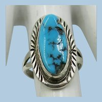 VINTAGE Sterling Turquoise Ring  Charming  Size 5 1/2