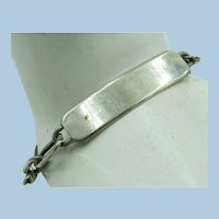 50's Sterling  Identification Bracelet Marked 925  7 1/2 inch length