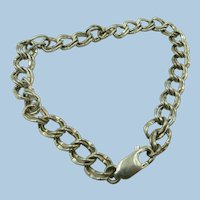 VINTAGE Sterling Start of Charm Bracelet  Double Link Wrist Chain 8 Inch  Plus 1 Mystery Charm sterling