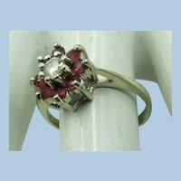 VINTAGE 14k White Gold With 8 Rubies and a Diamond  Size 7