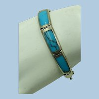 VINTAGE  Lovely  Sterling Turquoise Bracelet  7 Inches