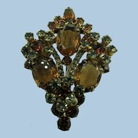 VINTAGE Amber Colored Lovely Rhinestone Brooch