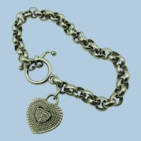 VINTAGE Sterling Links Bracelet with Heart with Real Diamonds