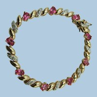 VINTAGE Sterling with Gold-Overlay Simulated Ruby Bracelet 7 1/4 Inch Length