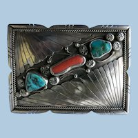 VINTAGE  Sterling  Fred James Navajo Older Belt Buckle
