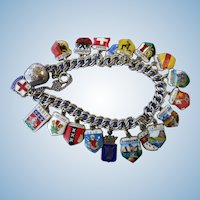 VINTAGE Sterling Bracelet of European Countries   20 Charms