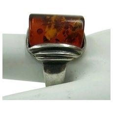 VINTAGE Older Sterling Ring with Amber Set  Size 8