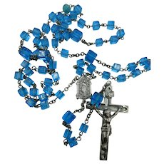 VINTAGE  Holy Rosary  from 60's Beautiful Blue