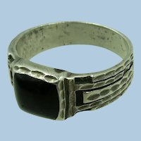 VINTAGE  Sterling and Onyx Textured Ring  Size 9 3/4