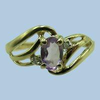 VINTAGE  Light Amethyst 10K Ring June Birth Stone  Size 7