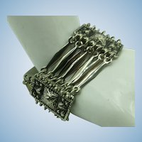 VINTAGE Mexican Silver 925 Dangling Bracelet 7 1/2 Inch Bracelet