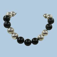 VINTAGE  Spectacular Choker for the Small Throat Onyx and Silver