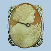 VINTAGE Large Hand-Carved Shell  Habille  Cameo 14k White Gold Frame