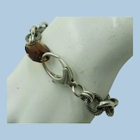 VINTAGE Sterling Bracelet with Smoky Quartz Closure  7 1/4 Inch Long