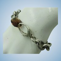 VINTAGE Sterling Bracelet with Smoky Quartz Closure  7 1/4 Inch Long