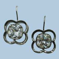 VINTAGE Sterling Large CZ Fish Hook Earrings