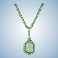 VINTAGE Rhodium Plated Art Deco  Y  Necklace Pretty Green