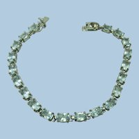 VINTAGE Sterling Link With Light Blue (Aquamarine colored) Sets   Lovely Bracelet  7 Inches