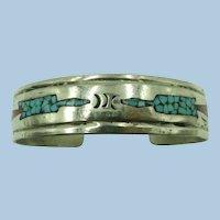 VINTAGE Sterling Turquoise and Coral Chip Bracelet