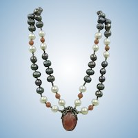 VINTAGE Large Fresh-water Pearls with Rhodonite Beads and Pendant