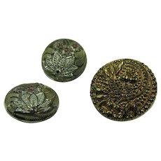 VINTAGE 3 Samples of Black Glass Collectable Buttons  2 with Silver Luster 1 with Gold Luster