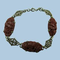 VINTAGE Link 7 Inch Bracelet with Carnelian Colored Sets and Marsasite Links