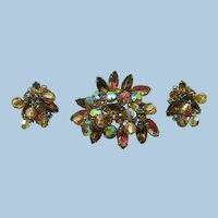 VINTAGE 60'  Costume Jewelry High End  Brooch and Earrings
