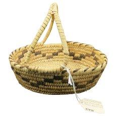 VINTAGE Papago Split Handle Small Basket  1927
