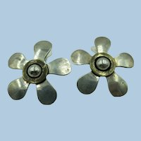 VINTAGE Large Sterling Sunflower Earring Mexican Silver