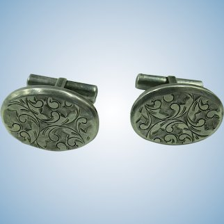 VINTAGE Silver 950 Etched Cuff Links
