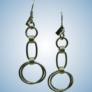 VINTAGE Sterling 925 Circle 2 3/4 Inch Circle Earrings with Fish Hooks