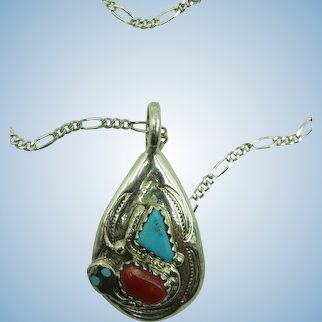 VINTAGE Zuni  Effie Calavaza Wonderful Snake and Coral and Turquoise Small Pendant
