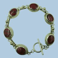 VINTAGE Sterling  Toggle Bracelet of Red Jasper Ovals  7 1/2 Inches