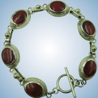 VINTAGE Sterling  Toggle Bracelet of Red Jasper Ovals  7 1/2 Inches