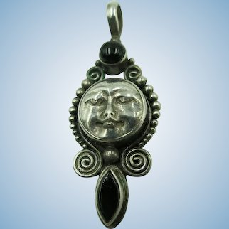 VINTAGE  Sterling Man in the Moon with two Onyx Sets  2 inches long