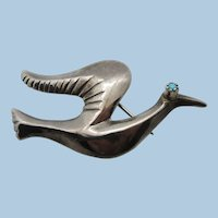 VINTAGE Sterling Dove of Peace Brooch with Turquoise Eye