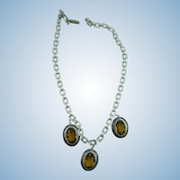 VINTAGE  Rhodium-Plated  Three Glass Set in Enameled  Setting Necklace
