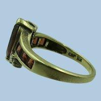 VINTAGE  10k  Yellow Gold  Garnet Ring Size 7