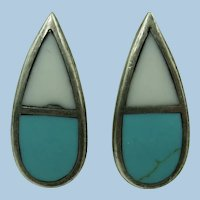 VINTAGE Turquoise and Mother of Pearl One Inch Clip Earrings