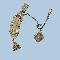 VINTAGE Gold Filled Vest Watch Holder with Locket