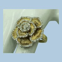 VINTAGE Sterling with Gold Overlay Flower Ring with Real Diamonds  Size  7