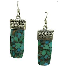 VINTAGE 1 3/4  Turquoise Chip Earring with Sterling 935 Earrings