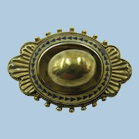 VICTORIAN Gold Filled Hollow Brooch with Blue Enameling