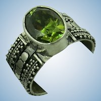 VINTAGE Sterling Peridot Wide Band Ring Size 8