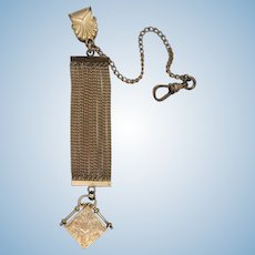VINTAGE 10k Yellow Gold Fob with Gold Filled Pretty Chain Watch Chain