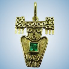 VINTAGE 18K Yellow Gold Mayan Charm Mystical