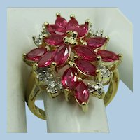 VINTAGE   Sterling with Gold Overlay  Simulated Ruby with Small little Diamonds  Size 7