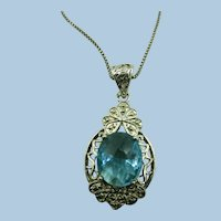VINTAGE Pretty  Sterling Simulated Faceted  Topaz Pendant  Sterling 20 Inch  Chain